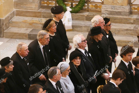 King Constantine with Queen Anne Marie, mourners, funeral of Prince Henrik of Denmark