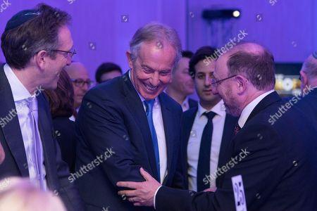 Jonathan M. Goldstein, Tony Blair and Dan Patterson.