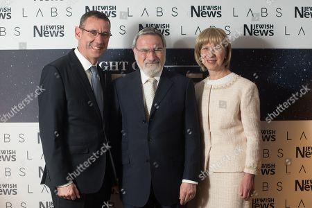 Israel Ambassador Mark Regev with Rabbi Lord Jonathan Sacks and Lady Elaine Sacks.