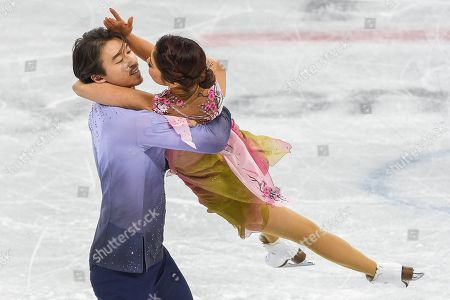Muramoto Kana and Reed Chris of  Japan competing in free dance at Gangneung Ice Arena , Gangneung, South Korea