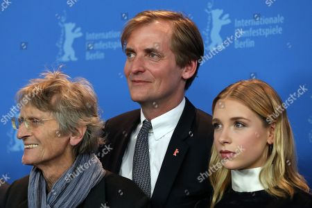 Stock Photo of German author Dietrich Garstka (L), director Lars Kraume (C) and actress Lena Klenke pose during a photocall for 'Das Schweigende Klassenzimmer - The Silent Revolution' at the 68th annual Berlin International Film Festival (Berlinale), in Berlin, Germany, 20 February 2018. The Berlinale runs from 15 to 25 February.