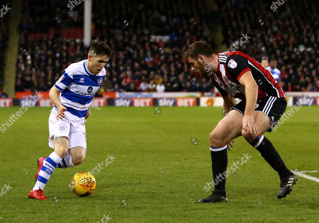Paul Smyth of Queens Park Rangers takes on Jack O'Connell of Sheffield United