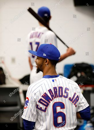Chicago Cubs relief pitcher Carl Edwards Jr. (6) poses for a photo during the Cubs' photo day before a baseball spring training workout, in Mesa, Ariz