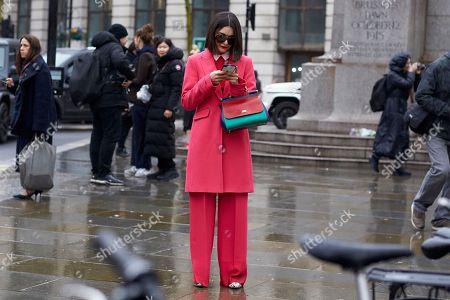 Editorial image of Street Style, Fall Winter 2018, London Fashion Week, UK - 19 Feb 2018