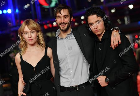 (L-R) Rose Marie Perreault, Pascal Plante and Anthony Therrien arrive for the Hommage Willem Dafoe - Honorary Golden Bear award ceremony and 'The Hunter' screening  during the 68th annual Berlin International Film Festival (Berlinale), in Berlin, Germany, 20 February 2018.
