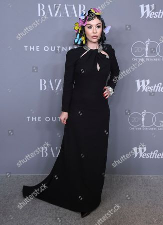 Dawn Ritz arrives at the 20th annual Costume Designers Guild Awards at The Beverly Hilton hotel, in Beverly Hills, Calif