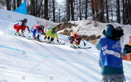 (L-R) Egor Korotkov of Olympic Athletes of Russia, Jean-Frederic Chapuis of France, Paul Eckert of Germany and Dave Duncan of Canada in action during the men's Freestyle Skiing Ski Cross 1/8 finals at the Bokwang Phoenix Park during the PyeongChang 2018 Olympic Games, South Korea, 21 February 2018.