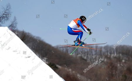 Jean Frederic Chapuis of France in action during the men's Freestyle Skiing Ski Cross seeding run at the Bokwang Phoenix Park during the PyeongChang 2018 Olympic Games, South Korea, 21 February 2018.