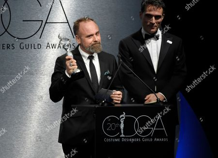 "Luis Sequeira accepts the award for excellence in period film for ""The Shape of Water"" at the 20th annual Costume Designers Guild Awards at The Beverly Hilton hotel, in Beverly Hills, Calif"
