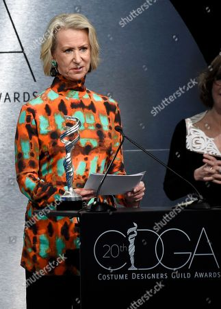 Joanna Johnston accepts the career achievement award at the 20th annual Costume Designers Guild Awards at The Beverly Hilton hotel, in Beverly Hills, Calif