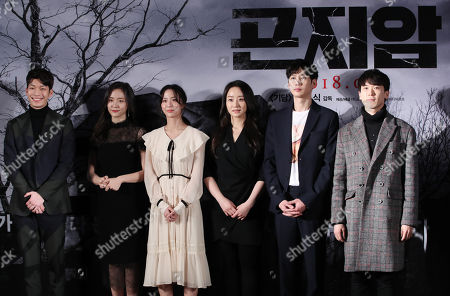 The cast of the new movie 'Gonjiam: Haunted Asylum' (L-R) Wi Ha-joon, Park Ji-hyun, Oh Ah-yeon, Moon Ye-won, Park Sung-hoon and Yoo Je-yoon, pose for a photograph during a showcase in Seoul, South Korea, 21 February 2018. The horror movie will be released in South Korea in late March.