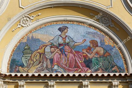 Mosaic on the gable, Ministry of Regional Development, Old Town Square, historic centre, Prague, Czech Republic
