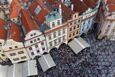 View from the Town Hall tower on colorful houses, historic centre, Old Town Square, Staromestske namesti, Mala Strana, Prague, Czech Republic