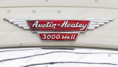 Austin Healey emblem on a Model 3000 MK 1962, British classic car