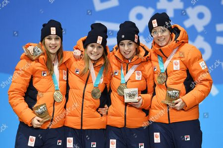 Bronze medalists the Netherlands (from left) Suzanne Schulting, Yara van Kerkhof, Lara van Ruijven, Jorien ter Mors during the medal ceremony for the women's 3000m Short Track Relay event at the PyeongChang 2018 Olympic Games, South Korea, 21 February 2018.