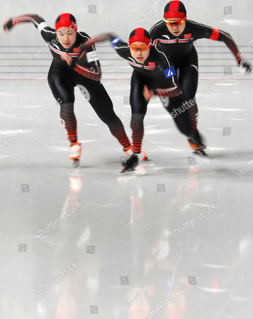 Team China of Li Dan, Liu Jing and Hao Jiachen compete in the Women's Speed Skating Team Pursuit Final C competition at the Gangneung Oval during the PyeongChang 2018 Olympic Games, South Korea, 21 February 2018.
