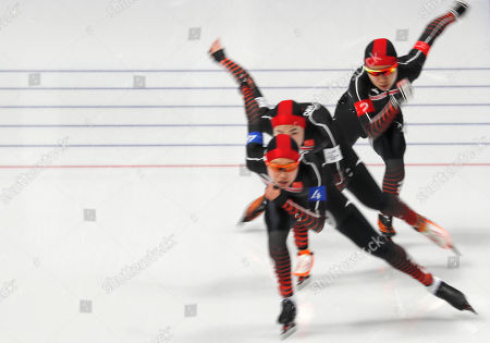 Stock Picture of Team China of Li Dan, Liu Jing and Hao Jiachen compete in the Women's Speed Skating Team Pursuit Final C competition at the Gangneung Oval during the PyeongChang 2018 Olympic Games, South Korea, 21 February 2018.