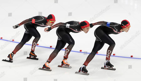 Stock Photo of Team China of Li Dan, Liu Jing and Hao Jiachen compete in the Women's Speed Skating Team Pursuit Final C competition at the Gangneung Oval during the PyeongChang 2018 Olympic Games, South Korea, 21 February 2018.