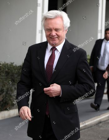 Stock Image of Brexit Secretary David Davis smiles after a meeting with George Katrougkalos, Greek Alternate Minister for Foreign Affairs, responsible for European Affairs and International Economic Relations, in Athens, . Davis is touring European capitals as Britain tries to persuade EU leaders to strike new deals on trade and security with the U.K