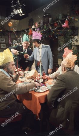 Ep 0282 Tuesday 23rd December 1975 Christmas party at The Woolpack. Landlord Amos Brearly comes up with a festive surprise when he dresses up as Father Christmas - With Henry Wilks, as played by Arthur Pentelow ; Joe Sugden, as played by Frazer Hines ; Amos Brearly, as played by Ronald Magill ; Sam Pearson, as played by Toke Townley ; P.B, as played by Artro Morris.