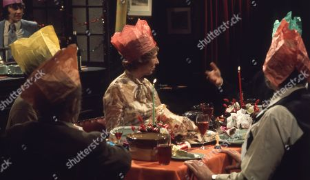 Ep 0282 Tuesday 23rd December 1975 Christmas party at The Woolpack. Landlord Amos Brearly comes up with a festive surprise when he dresses up as Father Christmas - With Annie Sugden, as played by Sheila Mercier ; Henry Wilks, as played by Arthur Pentelow ; Joe Sugden, as played by Frazer Hines ; Amos Brearly, as played by Ronald Magill ; Sam Pearson, as played by Toke Townley ; P.B, as played by Artro Morris.