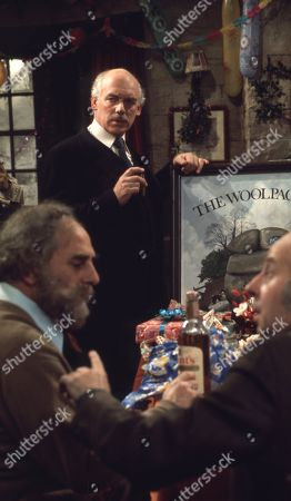 Ep 0282 Tuesday 23rd December 1975 Christmas party at The Woolpack. Landlord Amos Brearly comes up with a festive surprise when he dresses up as Father Christmas - With Henry Wilks, as played by Arthur Pentelow ; Sam Pearson, as played by Toke Townley ; P.B, as played by Artro Morris.