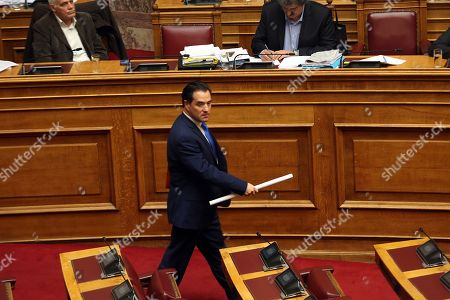Stock Image of ND vice-president Adonis Georgiadis speaks during a parliament's debate on the proposal of the government majority to set up a preliminary investigation commission for the Novartis case, in Athens, Greece, 21 February 2018. The debate was on whether Bank of Greece (BoG) governor Yannis Stournaras, two former prime ministers and another seven former ministers should be investigated by a preliminary committee for liability in the Novartis alleged bribery and money laundering case.