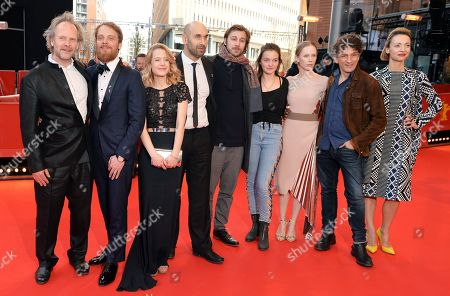 (L-R) Philip Groening, Stefan Konarske, Julia Zange, Urs Jucker, Moritz Leu, Zita Aretz, Susanne Wuest, Henry Arnold and Karolina Porcari arrive for the premiere of 'Mein Bruder heisst Robert und ist ein Idiot - My brother's name is Robert and he is an idiot' during the 68th annual Berlin International Film Festival (Berlinale), in Berlin, Germany, 21 February 2018. The Berlinale runs from 15 to 25 February.