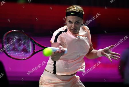 Sabine Lisicki of Germany plays against Viktoria Kuzmova of Slovakia during their 2nd round match at the WTA Hungarian Ladies Open tennis tournament in BOK Sports Hall in Budapest, Hungary, 21 February 2018.