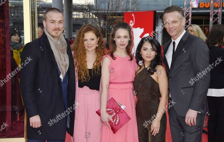 Actors Albrecht Schuch, Anja Antonowicz, Paula Beer, Mai Duong Kieu and Barry Atsma (L-R) arrive for the premiere of 'Bad Banks'  during the 68th annual Berlin International Film Festival (Berlinale), in Berlin, Germany, 21 February 2018. The Berlinale runs from 15 to 25 February.