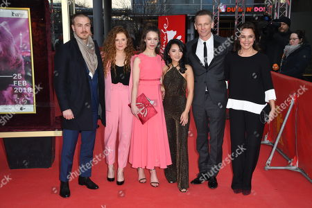 Actors Albrecht Schuch, Anja Antonowicz, Paula Beer, Mai Duong Kieu and Barry Atsma and Desiree Nosbusch (L-R) arrive for the premiere of 'Bad Banks'  during the 68th annual Berlin International Film Festival (Berlinale), in Berlin, Germany, 21 February 2018. The Berlinale runs from 15 to 25 February.