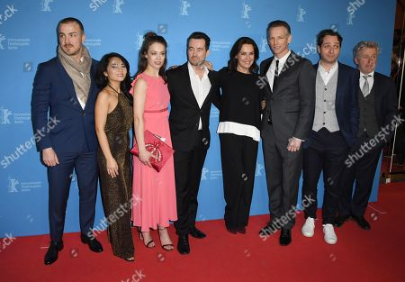 Actors Albrecht Schuch, Mai Duong Kieu, Paula Beer, director Christian Schochow, Desiree Nosbusch, Barry Atsma, Marc Limpach and Joerg Schuettauf (L-R) arrive for the premiere of 'Bad Banks' during the 68th annual Berlin International Film Festival (Berlinale), in Berlin, Germany, 21 February 2018. The Berlinale runs from 15 to 25 February.