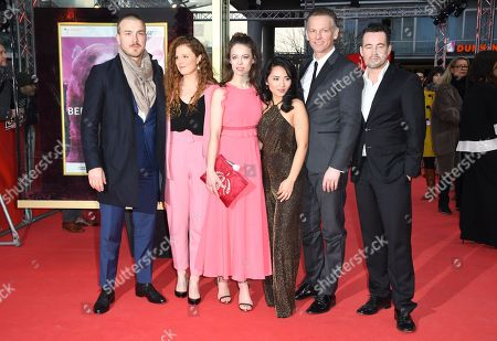 Actors Albrecht Schuch, Anja Antonowicz, Paula Beer, Mai Duong Kieu and Barry Atsma and director Christian Schochow (L-R) arrive for the premiere of 'Bad Banks'  during the 68th annual Berlin International Film Festival (Berlinale), in Berlin, Germany, 21 February 2018. The Berlinale runs from 15 to 25 February.