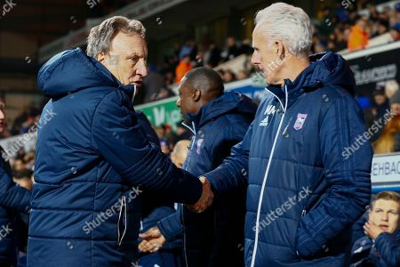 Cardiff City first team manager Neil Warnock Ipswich Town manager Mick McCarthy shake hands during the EFL Sky Bet Championship match between Ipswich Town and Cardiff City at Portman Road, Ipswich. Picture by Phil Chaplin