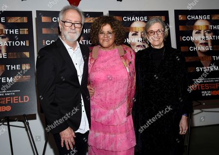 "Gary Goetzman, Anna Deavere Smith, Kristi Zea. Executive producer Gary Goetzman, from left, actor-writer Anna Deavere Smith and director Kristi Zea attend a special screening of HBO Films' ""Notes From The Field"" at the Museum of Modern Art, in New York"
