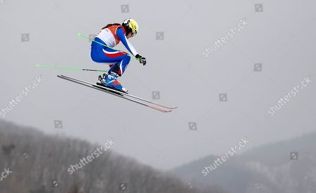 Alizee Baron of France in action during the women's Freestyle Skiing Ski Cross seeding run at the Bokwang Phoenix Park during the PyeongChang 2018 Olympic Games, South Korea, 22 February 2018.