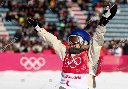 Anna Gasser, of Austria, celebrates after winning the gold medal in the women's Big Air snowboard final at the 2018 Winter Olympics in Pyeongchang, South Korea