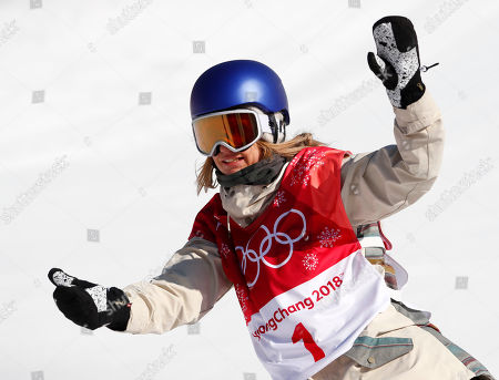 Anna Gasser, of Austria, reacts after her second jump in the women's Big Air snowboard final at the 2018 Winter Olympics in Pyeongchang, South Korea