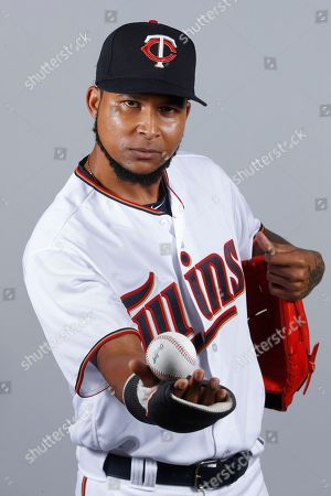 This is a 2018 photo of Ervin Santana of the Minnesota Twins baseball team. This image reflects the 2018 active roster as of Wednesday, Feb. 21, when this image was taken