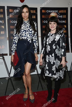 """Famke Janssen, Madeleine Martin. Actors Famke Janssen, left, and Madeleine Martin attend a special screening of HBO Films' """"Notes From The Field"""" at the Museum of Modern Art, in New York"""