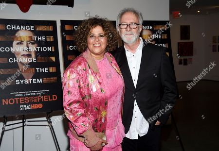 "Anna Deavere Smith, Gary Goetzman. Actor-writer Anna Deavere Smith and executive producer Gary Goetzman attend a special screening of HBO Films' ""Notes From The Field"" at the Museum of Modern Art, in New York"
