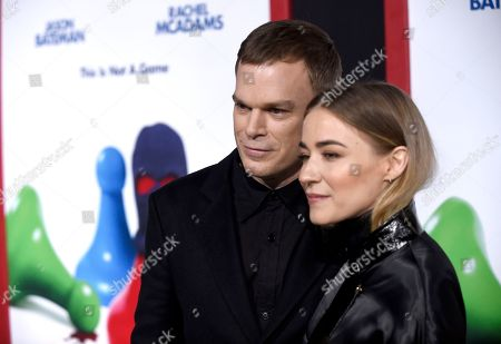 """Michael C Hall, Morgan Macgregor. Michael C Hall, left, and Morgan Macgregor arrive at the world premiere of """"Game Night"""" at the TCL Chinese Theatre, in Los Angeles"""