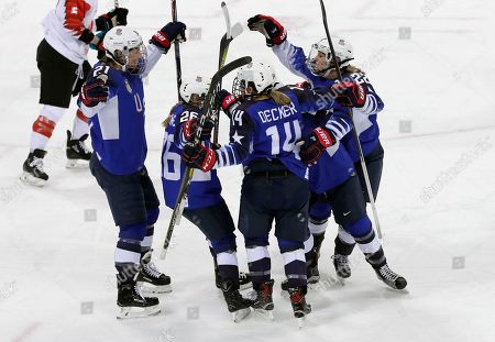 Hilary Knight (L) of the US celebrates with teammates after scoring the opening goal during the Women's Ice Hockey Gold Medal match between Canada and USA inside the Gangneung Hockey Centre at the PyeongChang Winter Olympic Games 2018, in Gangneung, South Korea, 22 February 2018.