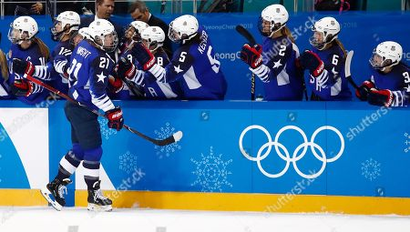Hilary Knight (L) of the US celebrates with teammates after scoring the opening goal against Canada during the Women's Ice Hockey Gold Medal match between Canada and USA inside the Gangneung Hockey Centre at the PyeongChang Winter Olympic Games 2018, in Gangneung, South Korea, 22 February 2018.