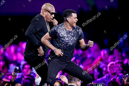 "Alexander Delgado and Randy Malcom Martinez of the Cuban duo ""Gente de Zona"" perform during the Vina del Mar International Song Festival at the Quinta Vergara coliseum in Vina del Mar, Chile"