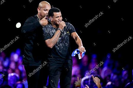 "Alexander and Randy Malcom Martinez of the Cuban duo ""Gente de Zona"" performs during the Vina del Mar International Song Festival at the Quinta Vergara coliseum in Vina del Mar, Chile"