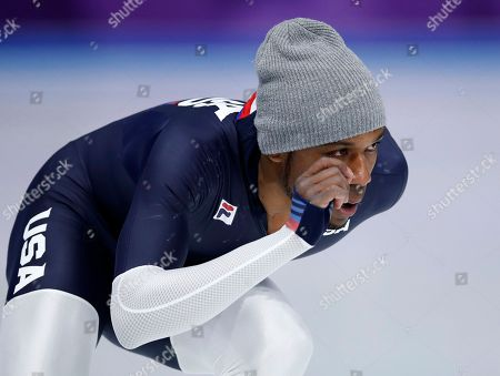 Shani Davis of the U.S. skates during a practice session for the men's 1,000 meters speedskating race at the Gangneung Oval at the 2018 Winter Olympics in Gangneung, South Korea
