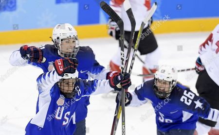 Brianna Decjer (front), Hilary Knight and Kendall Coyne (right) of USA during the Women's Ice Hockey Gold Medal Game between Canada and the United States