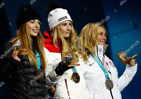 Medalists in the women's Big Air snowboard, United States' Jamie Anderson, silver, from right, Austrias' Anna Gasser, gold, and New Zealand's Synnott Zoi Sadowski, bronze, pose during their medals ceremony at the 2018 Winter Olympics in Pyeongchang, South Korea