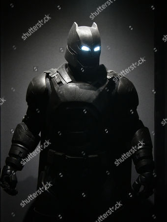 Armored Batsuit costume worn by Ben Affleck in Batman v Superman, Dawn of Justice, 2016, designed by Michael Wilkinson